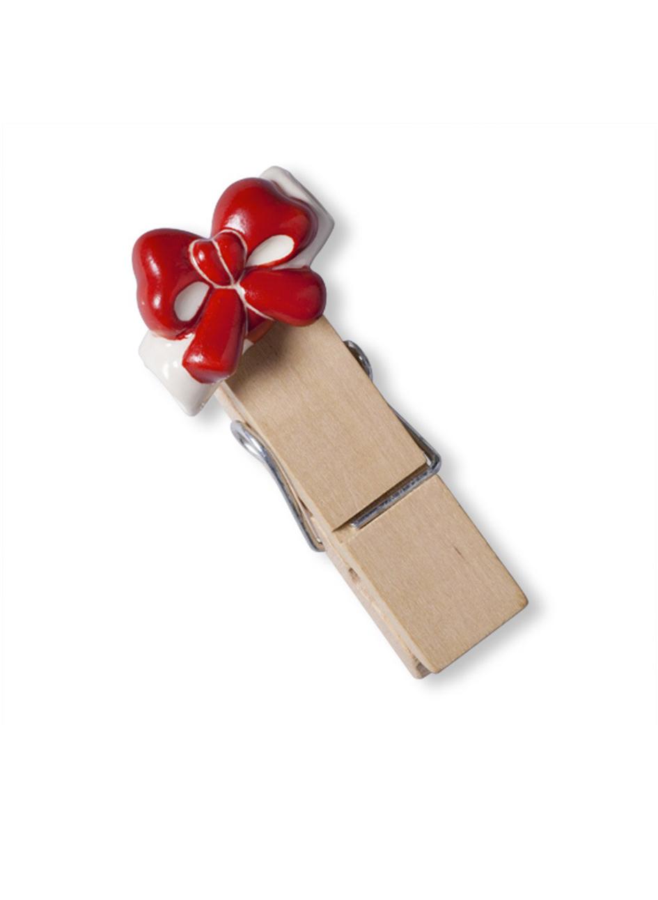 Molletta legno con fiocco bomboniere roccaro - Portafoto con molletta ...