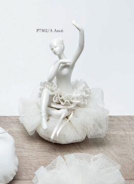 Ballerina porcellana grande con sacchetto puffetto