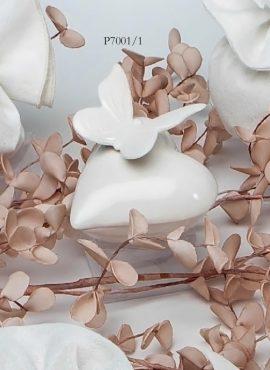 Scatola porcellana cuore con farfalla
