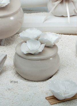 Scatola porcellana fiori rotonda piccola