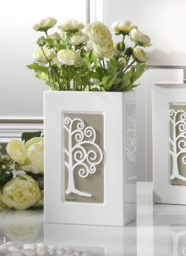 Vaso porta fiori in porcellana con albero