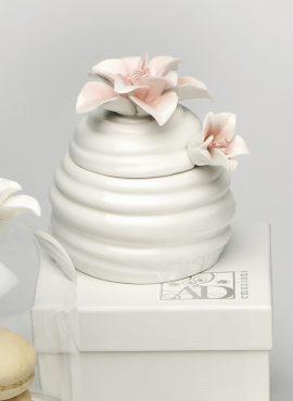 Porta miele in porcellana con fiore rosa