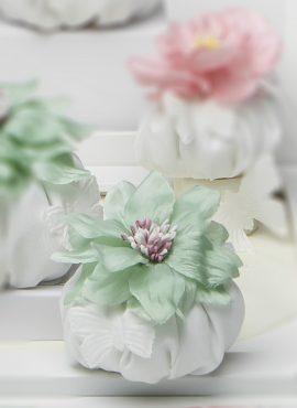 Sacchetto Puffetto verde in cotone con farfallina