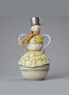Pupazzo di neve con cappello in latta