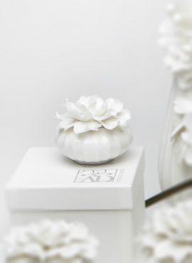 Scatolina in porcellana piccola con fiore gardenia