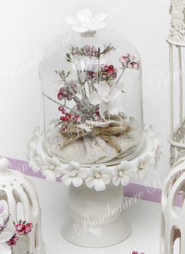 Alzatina vetro base porcellana piccola