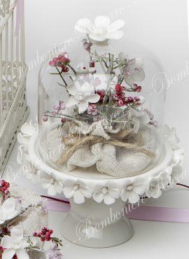 Alzatina vetro base porcellana grande
